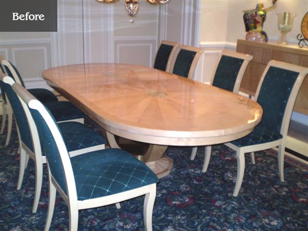 Oval table extended on both ends to create a longer and wider rectangular table