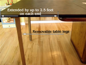 Our table extenders increase the size of your table by up to 5 feet