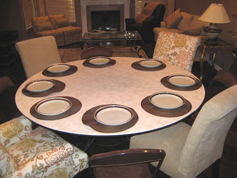 Round Table For Four Extended To Rectangle Table To Fit Up To 14 People